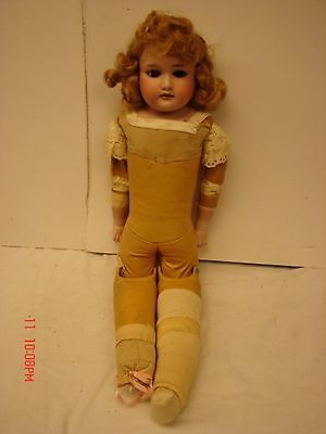 VINTAGE 27 INCH BISQUE ARMAND MARSEILLE DOLL 370 JOINTED LEATHER BODY GERMAN