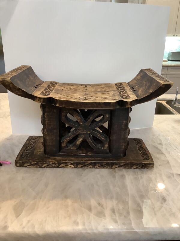 Wood foot stool throne bench sese african ashanti headrest