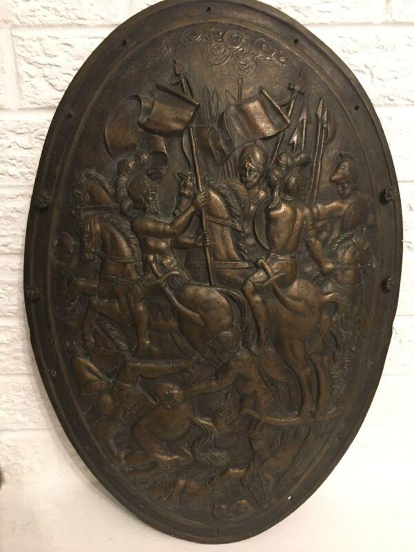 "Antique Relief Oval Bronze Plaque or Shield w/ Battle Scenes H20"""