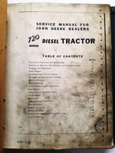 John Deere 720 Series Diesel Tractors Service Manual - SM 2020 - In Binder
