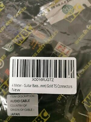 4 Meter - Guitar Bass Instrument Cable CUSTOM MADE By WORLDS BEST CABLES – us...