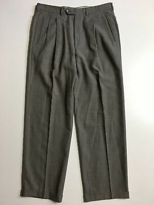 Corneliani Pleated front Cuffed Classic Dress Pants Mens 36x31 100% wool Pattern