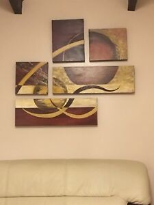 5 pcs hand made oil painting