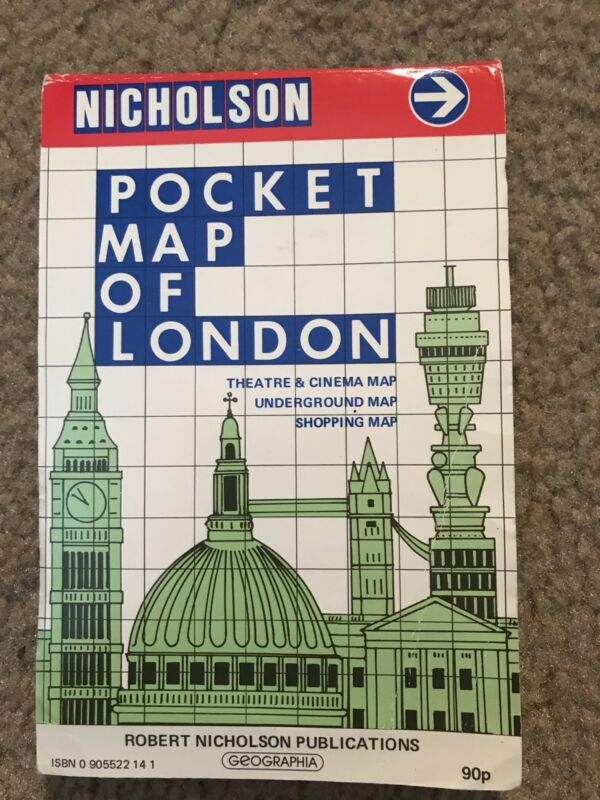 Vintage London Pocket Map Folded by Robert Nicholson,  Street Map