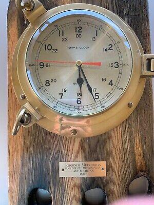 Solid Brass Ships Porthole Wall Clock Maritime ship's Nautical Decor Schooner