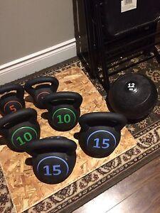 Weights, dumbbell, medicine ball, kettle balls