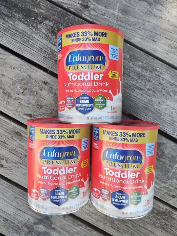 3 (32 oz) CANS Enfagrow Premium Toddler Nutritional Drink Natural Milk Flavor