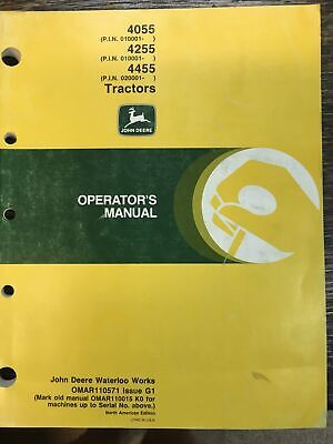 John Deere 4055 4255 4455 Tractor. Operators Manual Omar110571 Issue G1