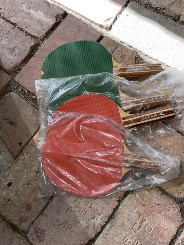 Vintage Championship Table Tennis Set 4 Paddles Ping Pong Dick Miles, Table Net