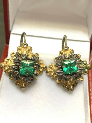 Gorgeous Antique Victorian Gold Filled Sterling Front Open Green Stone Earrings