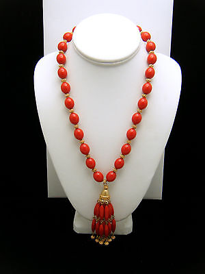 Crown Trifari Vintage Necklace 1960s Red Lucite Bead Tassel Pendant Gold Tone on Lookza