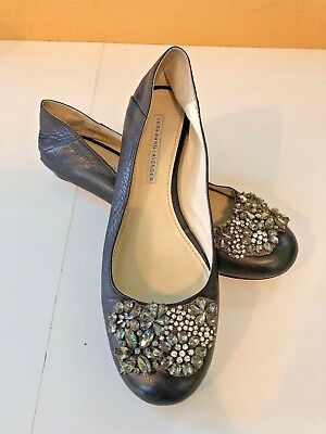 VERA WANG LAVENDER Lisa BLACK LEATHER CRYSTALS FLATS WMNS Sz. 8.5M  (Lisa Black Leather)