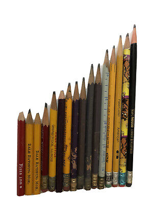 Lot of 16 Vintage Lead Advertising And Other Pencils Used Sharpened