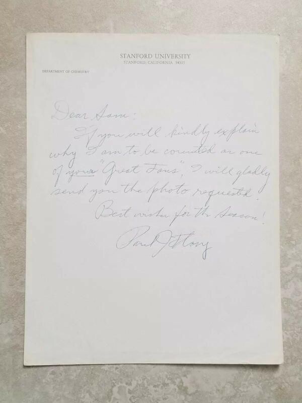 Paul John Flory Signed Autograph Letter from Stanford * Nobel Prize Winner