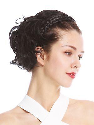 Halbperücke Haarteil edel geflochtener Haarreif schulterlang Schwarz gewellt