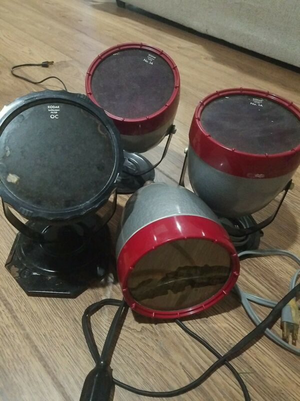 4 Kodak Model A Vintage Darkroom Lamps