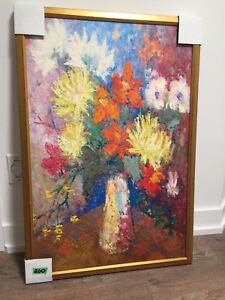 Oil painting, flowers, wooden frame