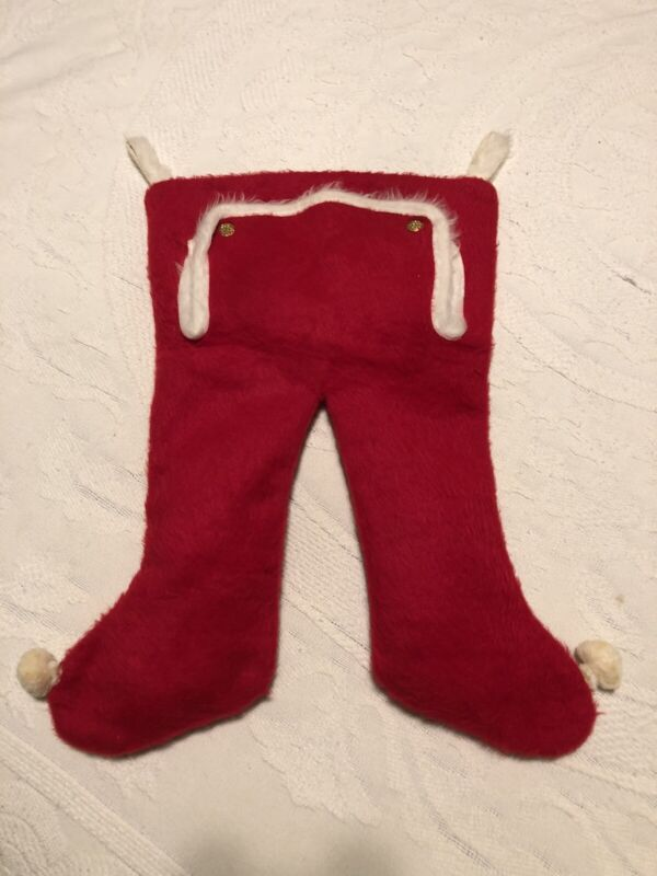 Vintage Christmas Stocking Red Santa Pants Double Snap Flap With Pom Poms
