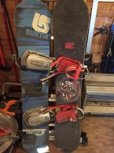 """60"""" burton snow board with boots and bindings"""