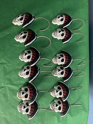 Pirate jolly roger shower curtain hooks lot of 12 used Bathroom Decor Nautical