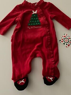 Little Me Baby Girl Velour Coverall My 1st Christmas Red Size 3 Months