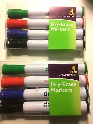 New Wexford Dry Erase Markers Lot Of 2 Packs 4 Each Package Chisel Tip
