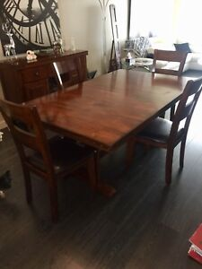 Solid wood table with side table