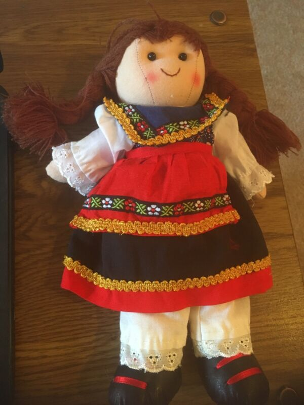 "Gerhardshofen Plush Doll 10"" in Dress with Apron  ES-D-914"