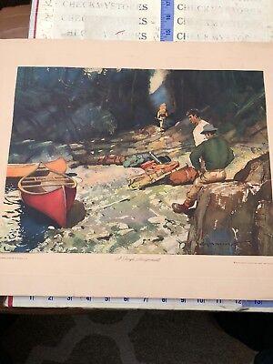 "A Tough Assignment ""  Vtg Roy M. Mason Watercolor Art Print - Signed,print USA"