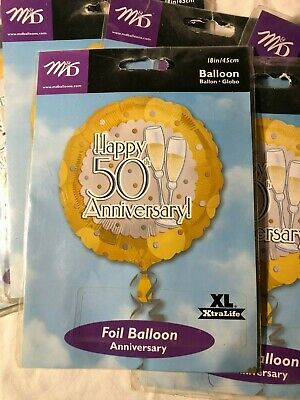 50th Wedding Anniversary Balloons (Lot/7 Happy 50th Anniversary! Foil Balloon 18