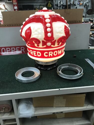 Gasoline Globe, RED CROWN, All Glass, With 2 Attachments Included, REPRODUCTION