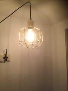 Geometric plug in pendant light with gold cage
