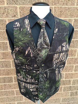 Camouflage Camo Wedding Formal Prom Tuxedo Vest & Tie Size S M L XL 2X NWT - Camo Tux