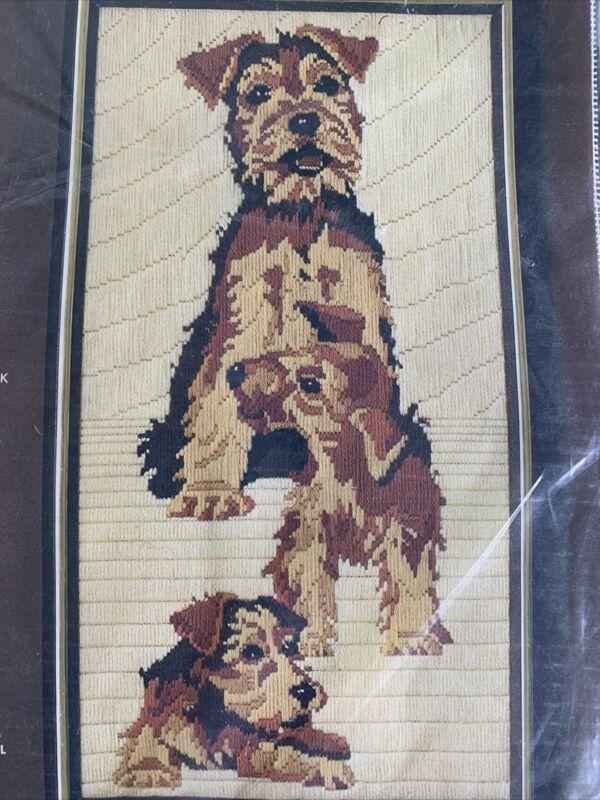 Terrier Family Vintage Needlepoint Long Stitch Kit Bucilla Unworked 10x19