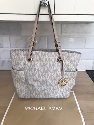 MICHAEL KORS SIGNATURE MK LOGO TOTE SHOULDER BAG VANILLA LEATHER PVC JET SET