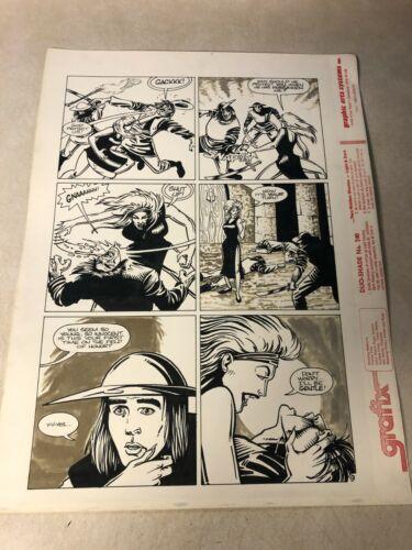SUBSPECIES #3 original art VAMPIRE SLASHES THROAT 1991 HORROR MOVIE COMIC