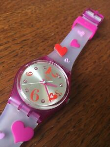 Young girls Swatch watch pink