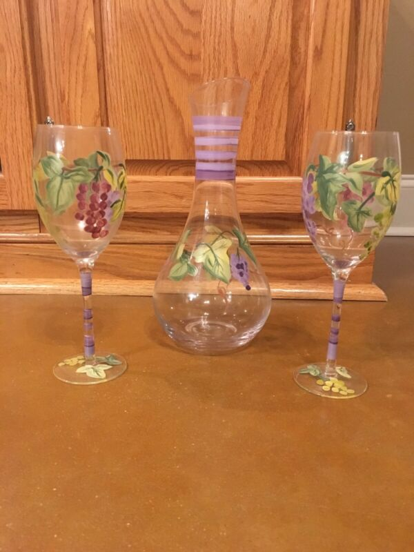 Handpainted White Wine Glasses And Decanter Set