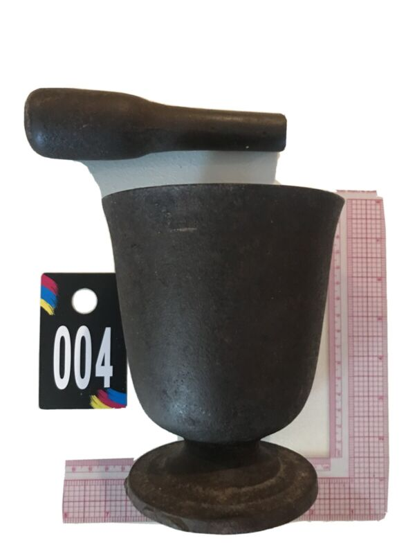 (RARE) Apothecary Cast Iron Mortar & Pestle Pharmacy Tool !