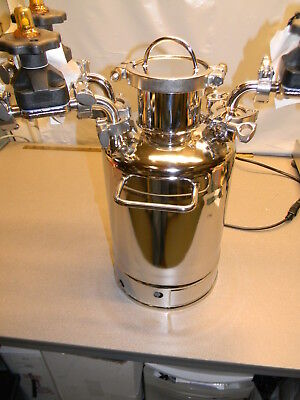 Alloy 10 L Stainless Steel Pressure Vessel W 3 Valves 228.6mm Id X 423.2 Height