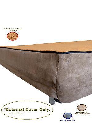 Replacement Gusset MicroFiber Coral Fleece Suede Brown Zipper Best Dog Bed