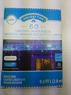 Holiday Time 60 Random Twinkle LED Cool White and Blue Icicle Lights White Wire