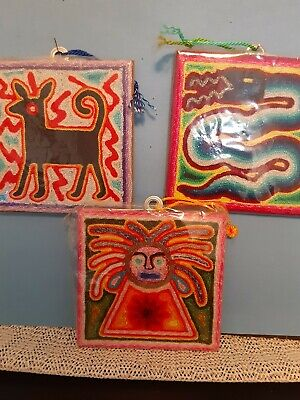 """Vtg Huichol Embroidered Yarn Folk Art Small 4"""" Pictures Set of 3 Nice Condition"""
