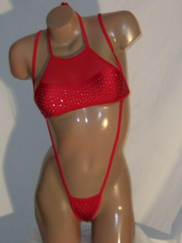 NWT Mesh rhinestone Halter and slingshot set exotic dancer stripper costume