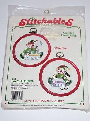 Stitchables Santa's Helpers Elf Elves Counted Cross Stitch Michael Fink 7581 Set ()