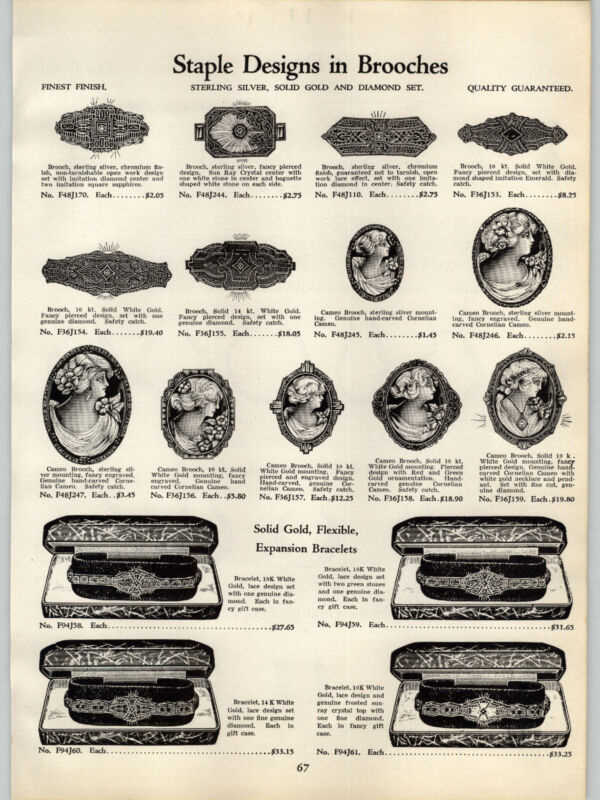 1934 PAPER AD Cameo Brooch Hand Carved Cornelain Shell
