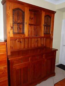 Custom Solid Timber Buffet and Hutch with lead light glass Austral Liverpool Area Preview