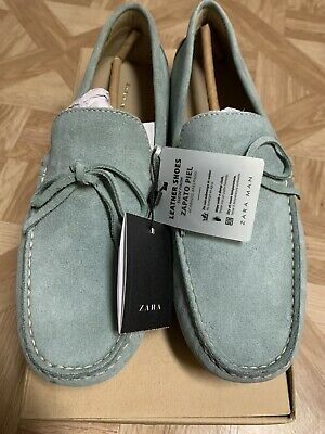 Zara Men Leather Driving Mocassin Shoe Mint Loafer US7 EUR40