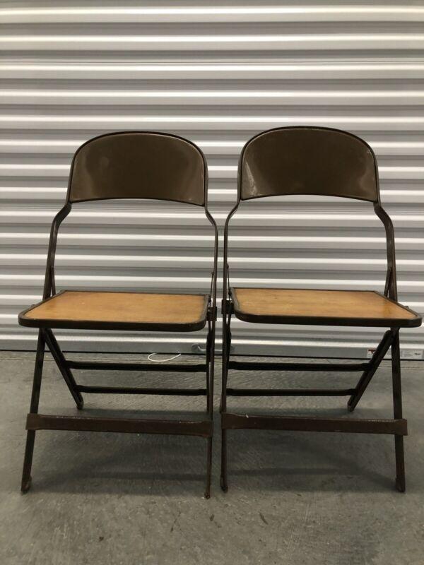 Vintage Metal Folding Chair Clarin Mfg Co USA Lot Of 2 Set Pair