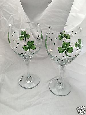 Pair of Lucky Irish Shamrock Design Wine Glasses-Signed! (FREE SHIPPING)